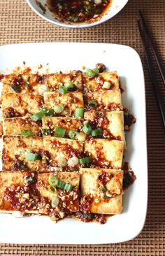 Pan Fried Tofu with Spicy Korean Sauce recipe by SeasonWithSpice.com @seasonwithspice