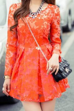 Stylish Scoop Neck Floral Print Two-Piece Long Sleeve Dress For Women