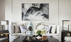 抽象的山水画装饰,淡雅的新中式风格