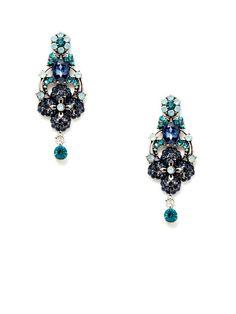 Blue Multi Crystal Geometric Floral Earrings by Leslie Danzis on Gilt.com
