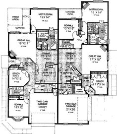 Duplex with Study and Two Bedrooms - floor plan - Main Level Best House Plans, Dream House Plans, Small House Plans, Duplex Floor Plans, House Floor Plans, Duplex Design, House Design, Master Suite, Florida House Plans