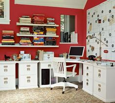Red office walls. Nice!  we want to do the vinyl laminate in our kitchen and sunroom!  We LOVE the hardwood floors we installed last winter in other rooms of our home!  #5thWaLL