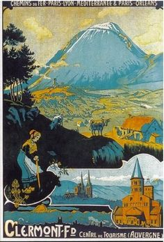 Vintage Railway Travel Poster, Clermont Ferrand - France.