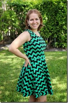 Sew You by Erica Sue: Green and Black Chevron Lady Skater