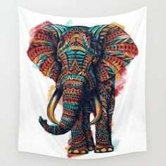 Ornate Elephant (Watercolor) Wall Tapestry