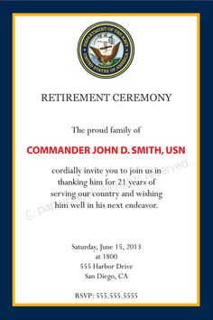 Military Retirement Ceremony by PaperPapelShop on Etsy, $8.00