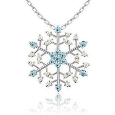 "New Arrivals - snowflake charm pendant necklace 18""  with blue diamond accent xmas gift Image."