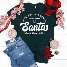 Funny Christmas Shirts, Christmas Clothes, Christmas Outfits, Diy Halloween Shirts, Christmas Pajamas, Winter Outfits, T Shirt Diy, Personalized T Shirts, Unisex Fashion