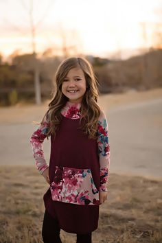 Little Girls Floral Hoodie- Burgundy. Ryleigh Rue Clothing. Mommy & Me Matching Outfit Boutique.