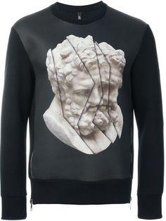 NEIL BARRETT Statue Print Sweatshirt. #neilbarrett #cloth #sweatshirt