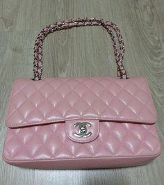 2cec8f221b05 Authentic Classic Chanel Pink Caviar Medium Silver HW Double Flap Bag | eBay  Chanel Pink,