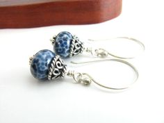 Sterling Silver Denim Glass Bead Earrings Artisan by BooBeads