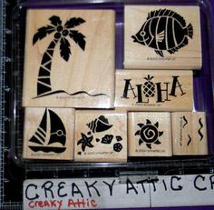 STAMPIN+UP+ALOHA+7+RUBBER+STAMPS+PALM+TREE+FISH+TROPICAL+SHELLS+#STAMPINUP
