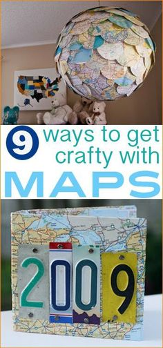 9 DIY Ways to get Crafty with Maps.  Preserve memories or showcase your favorite part of the world with these creative projects.  Maps make great home decor.
