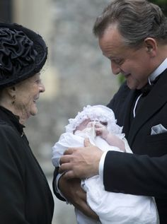 """A moment of JOY through four generations. The Dowager Countess, Lord Grantham, and the """"new"""" Lady Sybil.  #DowntonAbbey"""