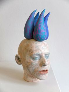 blue - man - head - Ceramic sculpture - Ivan Prieto