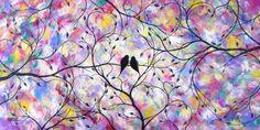 ART vente oiseaux de grand amour contemporain par jmichaelpaintings