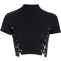 Black Polo Neck Crop Top With Lace Up Sides (400 MXN) ❤ liked on Polyvore featuring tops, crop tops, shirts, crop, black, lace up shirt, short sleeve cotton shirts, turtleneck shirt, crop top and turtle neck top