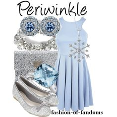 Periwinkle by fofandoms on Polyvore featuring Accessorize, Anya Hindmarch, Blue Nile, White House Black Market, Matthew Williamson, Reeds Jewelers, disney, tinker bell, disney fashion and periwinkle