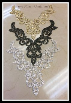 Best 11 Rhinestone Necklace Applique/ Rhinestone Neckline Applique/ – Page 435512226446568622 Hand Embroidery Dress, Bead Embroidery Patterns, Bead Embroidery Jewelry, Hand Embroidery Designs, Embroidery Applique, Beaded Embroidery, Beaded Jewelry, Wire Jewelry, Ballroom Jewelry