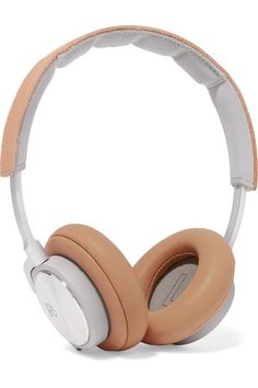 Beige leather, silver-tone metal Compatible with MP3, cell phones and other audio devices Imported