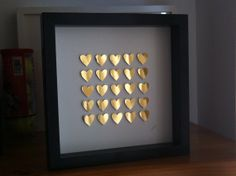 paper hearts/ gold heart/ home decoration/ St by GosiaandHelena, Paper Artwork, Paper Hearts, 3d Paper, Heart Art, Wedding Anniversary Gifts, Heart Of Gold, Box Frames, Wedding Gold, Valentines