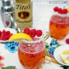 Ginger Raspberry Crush Cocktail. Fun and fruity favorite. {from The Cookie Rookie} with Tito's Handmade Vodka!