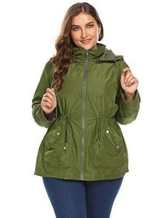 2ba8130e1c0 Women Plus Size Lightweight Raincoat Travel Hoodie Rain Jacket Windproof  Hiking Portable Waterproof Coat