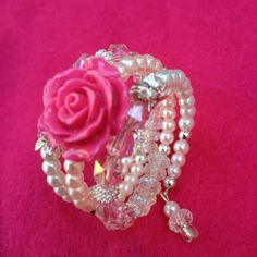 Little girl pink rose on memory wire