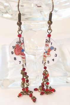 Earrings Watchface Santa with red beads by NonisEclecticShop, $15.00 #promooasis