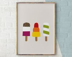 Ice Lolly Print, Ice Cream Art, Sweets Print, Food Wall Art, Kitchen Gift, Summer Print, Stay Cool, Wall Print Ice Cream, Summer Birthday