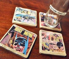 Comic Book Coasters | 21 Geeky Projects Fit For A Superhero