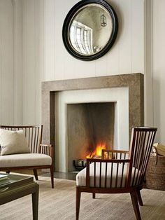 fireplace style design ideas 16  i like the chairs, mirror and framing around the fireplace