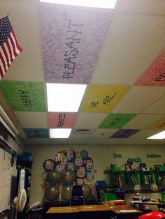 Classroom ceiling decorations use diy Classroom Ceiling Decorations, Classroom Decor Themes, Classroom Walls, School Decorations, School Themes, Classroom Organization, Classroom Ideas, Classroom Management, Pbis School
