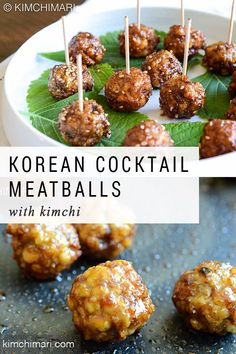 Korean Cocktail Meatballs are light and chewy with bits of kimchi bursting with flavor inside. Coat them with my sweet soy glaze and they will definitely make your guests wanting for more. Korean Appetizers, Appetizers For Party, Appetizer Recipes, Food C, Good Food, Yummy Snacks, Delicious Food, Tasty, Cocktail Meatballs
