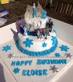 Disney's Frozen Cake for 6 Year Old Frozen Addict!... This website is the Pinterest of birthday cake ideas