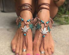 Antheia - The Goddess of Gardens Barefoot Sandals By Iris Marijuana Pot Weed Leaf Boho Bohemian Hippie shoes jewelry anklet footswag