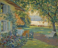 COTTAGE Painting By the Sea by Cucuel in 1917 by ArtdeLimaginaire, $10.00