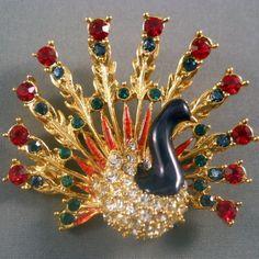 Vintage Sphinx Rhinestone Peacock Brooch Figural from Suzy's Timeless Treasures Vintage Jewelry on Ruby Lane