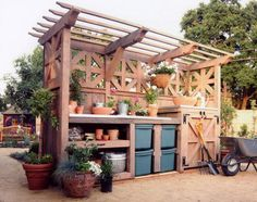 48 creative potting bench plans to organized and make gardening work easy create a diy garden bench using items you already have at home Potting Bench Plans, Potting Tables, Potting Sheds, Outdoor Potting Bench, Potting Bench With Sink, Garden Buildings, Garden Structures, Garden Table, Garden Pots
