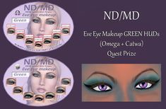 Merchant: ND/MD Prize Name: Eve Eye Makeup GREEN HUDs (Omega + Catwa) Prize Type: Avatar Appearance Summer Palace, Makeup For Green Eyes, Omega, Avatar, Eve, Eye Makeup, Shapes, Makeup Eyes, Eye Make Up