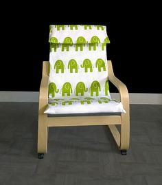 SALE  Ikea KIDS POÄNG Cushion Slipcover  White Green Elephant by RockinCushions