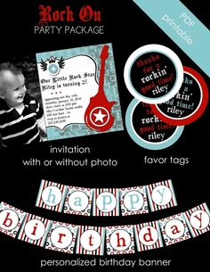 Rock star party idea- this was the theme for Dominic's 1st birthday. The printables from totfulmemories are awesome!
