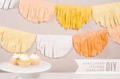 DIY Scalloped Fringe Tissue Paper Garland Tutorial from Confetti Sunshine