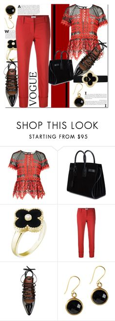"""""""Givenchy Lace-Up Ballerina's... Styling with Red & Black"""" by helenaymangual ❤ liked on Polyvore featuring Jonathan Simkhai, Yves Saint Laurent, Van Cleef & Arpels, Brunello Cucinelli and Givenchy"""