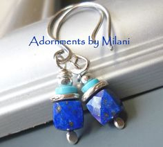 Dark Blue Earrings Lapis Lazuli Turquoise Stones Small Beaded Sterling Silver - Royal by adornmentsbymilani on Etsy