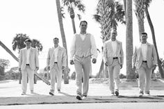 The entourage in a black and white groomsmen picture at The Resort at Longboat Key Club!