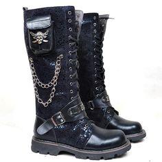 Men Black Leather Pirate Skull Knee High Steam Punk Biker Riding Boots SKU-1280453