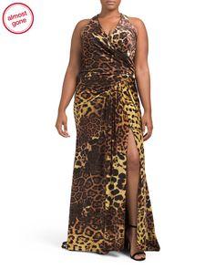 Plus+Cheetah+Dress+With+High+Slit