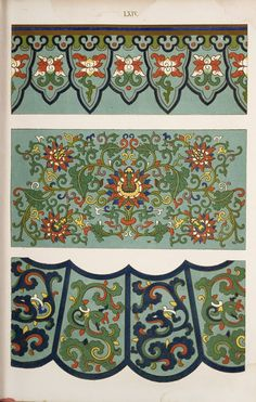 Jones, Owen, / Examples of Chinese ornament selected from objects in the South Kensington Museum and other collections. Chinese Artwork, Chinese Painting, Art Nouveau, Chinese Ornament, Street Art, Chinese Element, Chinese Patterns, American Quilt, Asian Design